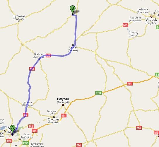 путь из Минска в Витебск